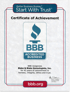 BBB recognizes Blake & Blake Genealogists, Inc. for 42 years of commitment to honesty, integrity, ethics and trust.